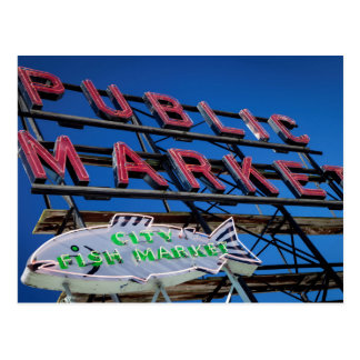Pike Place Public Market Sign Postcard