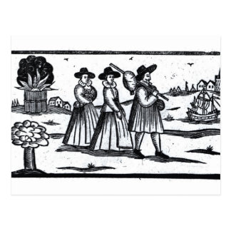 Pilgrims set sail on the Mayflower Postcard