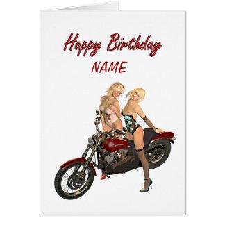 Pin-up biker girls birthday card