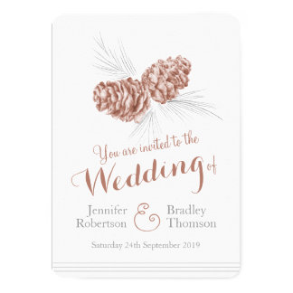 Pine cones art brown winter wedding invitations