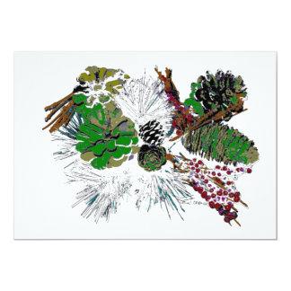 Pinecones in Green by Dawn Cramer 13 Cm X 18 Cm Invitation Card