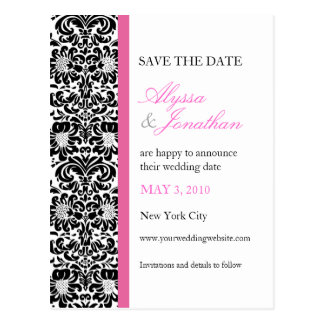 Pink Accents Damask Save the Date Card Postcard