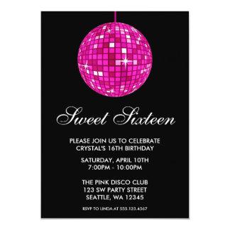 Pink and Black Disco Ball Sweet Sixteen Birthday 13 Cm X 18 Cm Invitation Card