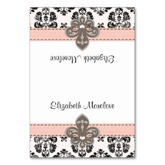 Pink and Black Fleur de Lis Tented Name Place Card Table Cards