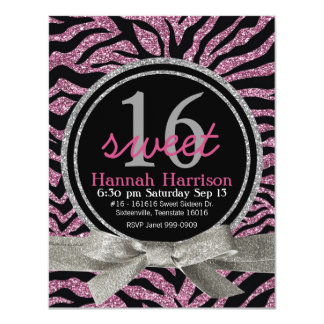 Pink and Black Glitter Look Zebra Sweet 16 Party 11 Cm X 14 Cm Invitation Card