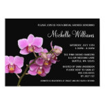 Pink and Black Orchid Bridal Shower 13 Cm X 18 Cm Invitation Card