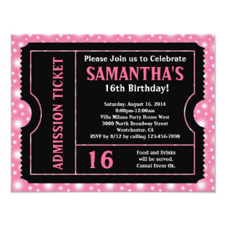Pink and Black Ticket, Sweet 16 or Any Age 11 Cm X 14 Cm Invitation Card
