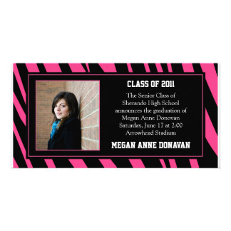 Pink and Black Zebra Photo Graduation Invitation Personalized Photo Card