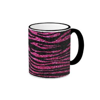Pink and Black Zebra Print bling (faux glitter) Ringer Mug