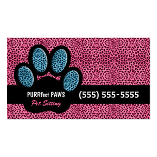 Pink and Blue Cheetah and Paw Pet Sitter Pack Of Standard Business Cards