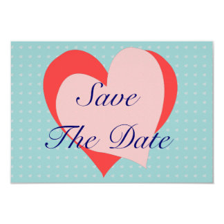 Pink and blue Hearts telegram Save the Date 9 Cm X 13 Cm Invitation Card