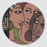 Pink and Green African American Women Round Sticker