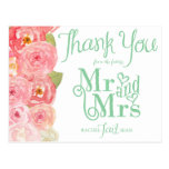 Pink and Green Floral Bridal Shower Thank You Postcard