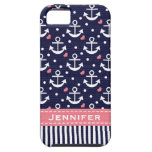 Pink and Navy Anchor iPhone 5 Covers