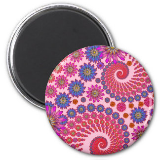 Pink and Orange Floral Abstract Art 6 Cm Round Magnet