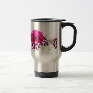 Pink and Purple Flower Bouquet Stainless Steel Travel Mug