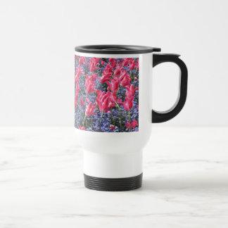 Pink and purple flower field stainless steel travel mug