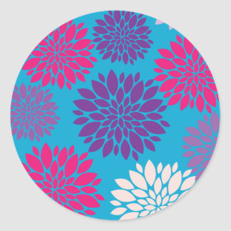Pink and Purple Flowers on Teal Blue Round Sticker