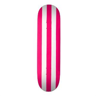 Pink and White Stripe Skateboard Deck