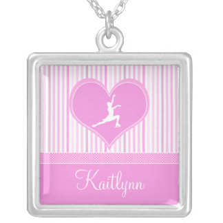 Pink and White Stripes / Polka-Dots Figure Skater Square Pendant Necklace