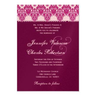 Pink and Wine Damask Wedding Invitation