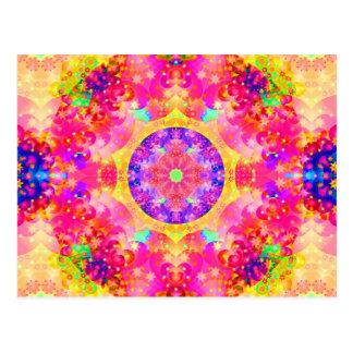 Pink and Yellow Kaleidoscope Fractal Postcard