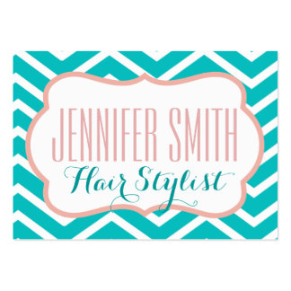 Pink Aqua Chevron Hairdresser Salon Appointment Pack Of Chubby Business Cards