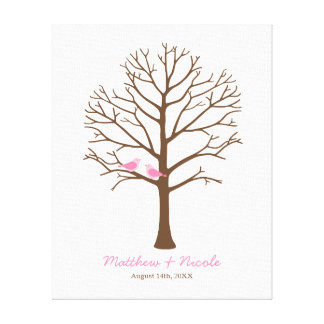 Pink Birds Brown Fingerprint Tree Wedding Gallery Wrapped Canvas