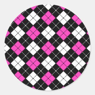 Pink Black and White Argyle Pattern Round Sticker