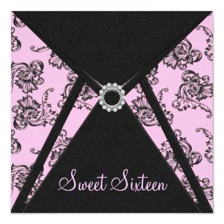 Pink Black Damask Sweet 16 Party 13 Cm X 13 Cm Square Invitation Card
