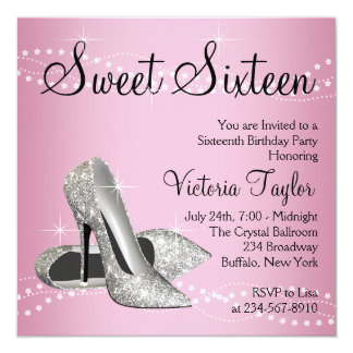 Pink Black High Heels Sweet 16 Party 13 Cm X 13 Cm Square Invitation Card