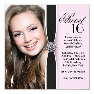 Pink Black Photo Sweet 16 Birthday Party 13 Cm X 13 Cm Square Invitation Card