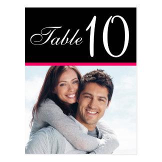 Pink Black Photo Wedding Table Number Cards Postcard