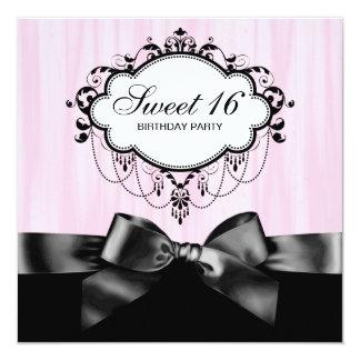 Pink Black Sweet 16 Birthday Party 13 Cm X 13 Cm Square Invitation Card