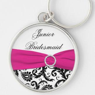 Pink, Black, White Junior Bridesmaid Keychain