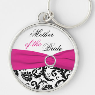 Pink, Black, White Mother of the Bride Keychain