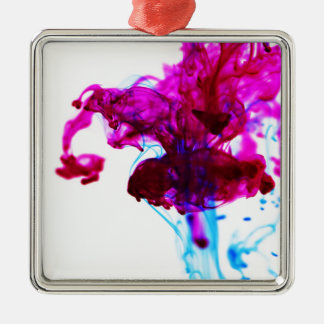 Pink Blue Ink Drop Macro Photography Silver-Colored Square Decoration