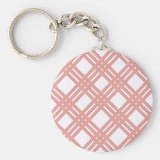 Pink Blush Gingham Basic Round Button Key Ring