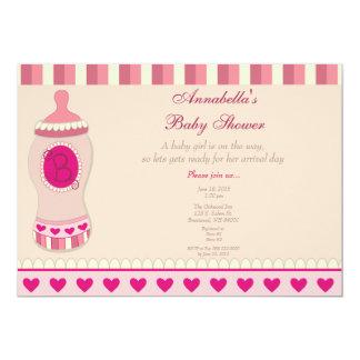Pink Bottle Baby Shower Invitation