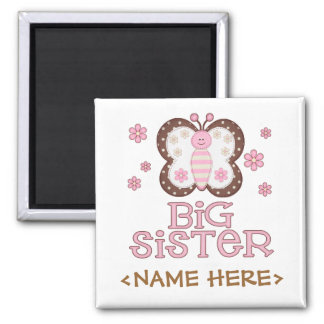 Pink Butterfly Big Sister Square Magnet