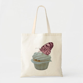 Pink Butterfly with Cupcake Design Budget Tote Bag