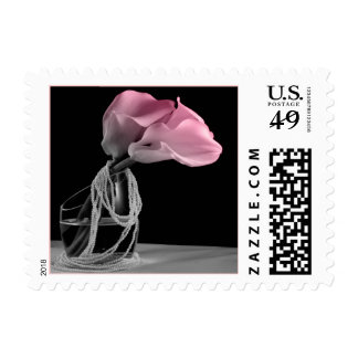 Pink Calla Lily And Pearls Wedding Postage Stamp
