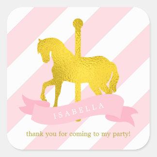 Pink Carousel Horse Birthday Square Sticker