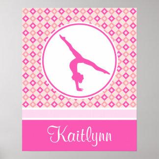 Pink Checkered Diamonds Gymnastics w/ Monogram Poster