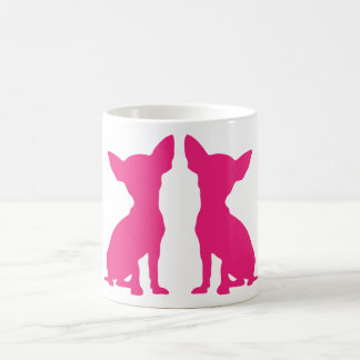 Pink Chihuahua dog cute silhouette mug, gift idea Basic White Mug