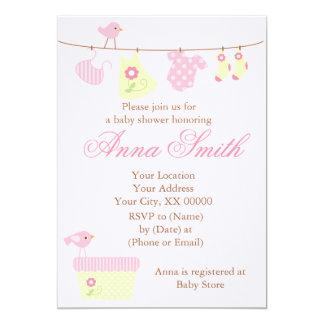 Pink Clothesline Baby Shower 13 Cm X 18 Cm Invitation Card