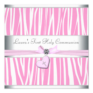 Pink Cross First Communion 13 Cm X 13 Cm Square Invitation Card