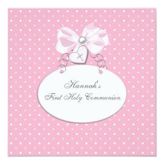 Pink Cross Girls First Communion 13 Cm X 13 Cm Square Invitation Card