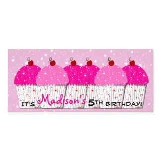Pink Cupcake Love Birthday Party 10 Cm X 24 Cm Invitation Card