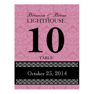 Pink Damask Wedding Table Number Card Reception Postcard